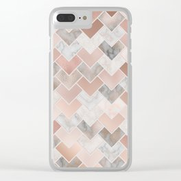 Rose Gold and Marble Geometric Tiles Clear iPhone Case