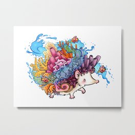 Sea Splash Tropical Coral Reef Hedgehog Metal Print