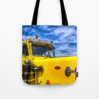 truck Tote Bags featuring Peterbilt Truck by David Pyatt