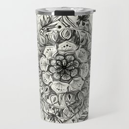 Messy Boho Floral in Charcoal and Cream  Travel Mug