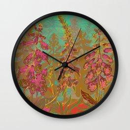 Fun with Foxgloves Wall Clock