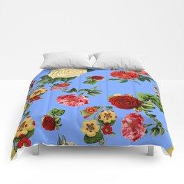 Blue vintage roses Comforters