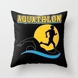 Aquathlon Swim and Run Silouhette Throw Pillow