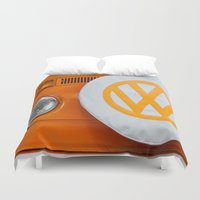 volkswagen Duvet Covers featuring Volkswagen Orange by Alice Gosling