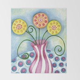 Lollipop Flowers Throw Blanket