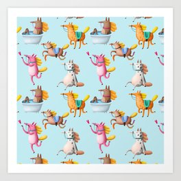 Cute and Whimsical Horse Pattern on Light Blue Art Print