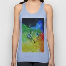 Abstract Bright Cat Unisex Tank Top
