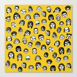 So Many People (Yellow) Pattern Print Canvas Print