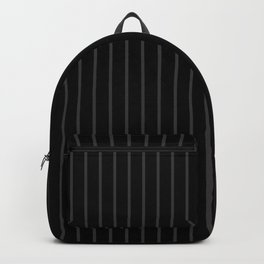 Dark Grey on Black Pinstripes | Vertical Thin Pinstripes | Backpack