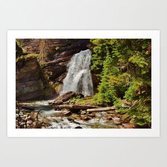 Serene Waterfall Art Print