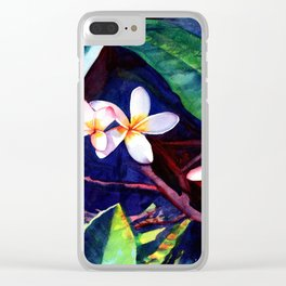 Blooming Plumeria Clear iPhone Case
