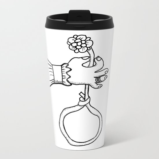 one hand that holds the flower Metal Travel Mug