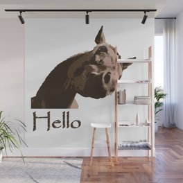funny horse hello Wall Mural