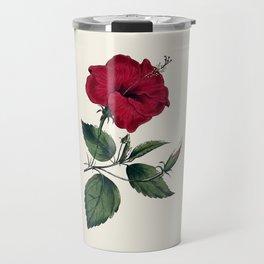 Vintage ivory white red green botanical flower Travel Mug
