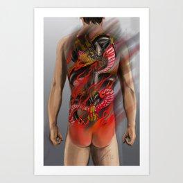 Dragon and fudomyo Sword bodysuit tattoo design  Art Print
