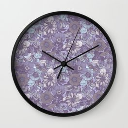 Hellebore lineart florals | soft winter Wall Clock