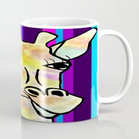 striped Mugs featuring Striped Giraffe by Tiffany Saffle