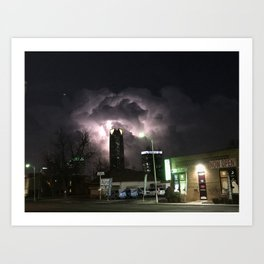 Lightning Over Oklahoma City Art Print