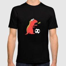 Black Cartoon Dinosaur Soccer Mens Fitted Tee MEDIUM Black