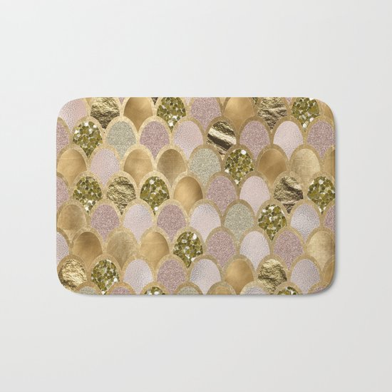 Rose gold glittering mermaid scales Bath Mat