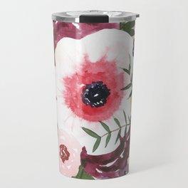 Burgundy Blush Watercolor Floral Travel Mug