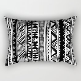 Black White Cute Girly Urban Tribal Aztec Andes Abstract Geometric Hand-drawn Pattern Rectangular Pillow