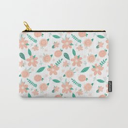 Pink teal flower pattern Carry-All Pouch