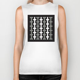 Geometric Pattern 113 (gray lines stripes) Biker Tank