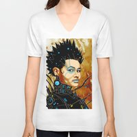 sci fi V-neck T-shirts featuring BLK SCI-FI 1 by BlackKirby1