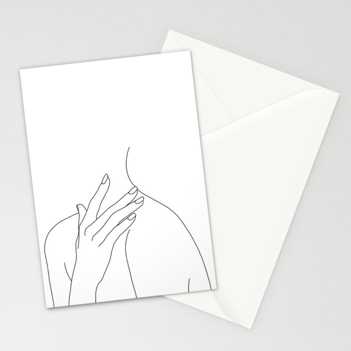 Female body line drawing - Danna Stationery Cards