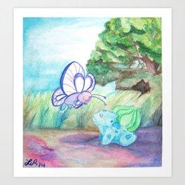 Butterfree And Bulba-saur Art Print