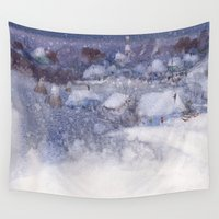 fairy tale Wall Tapestries featuring Winter fairy-tale by Ivanushka Tzepesh
