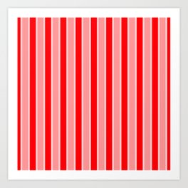 Large Vertical Christmas Holiday Red Velvet and White Bed Stripe Art Print