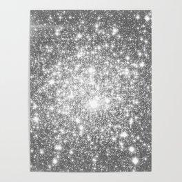 Silver Gray Galaxy Sparkle Stars Poster