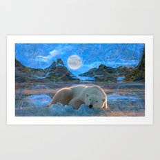 Just Chilling and Dreaming (Polar Bear) Art Print