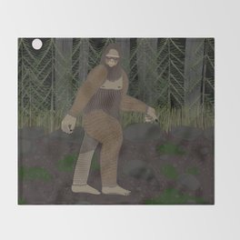 Bigfoot in the Forest Throw Blanket