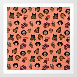 Black Hair Magic (Coral) Art Print