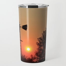 Kansas Orange Sunset with a Windmill silhouette Travel Mug