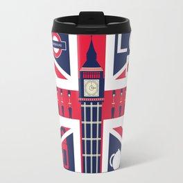 Vintage Union Jack UK Flag with London Decoration Travel Mug