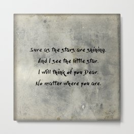 Antique Quote Little Star Love Words Metal Print