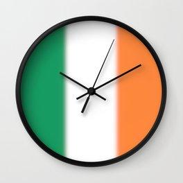 Green White and Orange Ombre Shaded Irish Flag Wall Clock