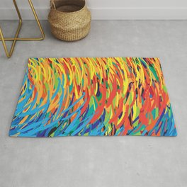 Colourful Curves And Stripes Rug