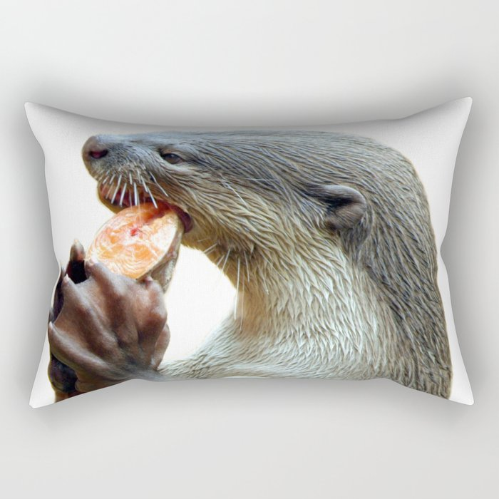 Smooth Coated Otter Eating Fish Rectangular Pillow