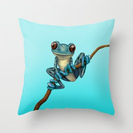 Cute Blue Tree Frog on a Branch Throw Pillow