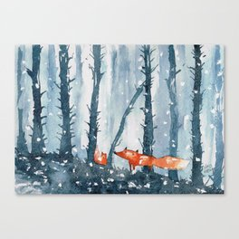 Foxes in forest Canvas Print