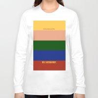 rushmore Long Sleeve T-shirts featuring Rushmore minimalist poster by cinemaminimalist