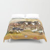 farm Duvet Covers featuring Featherwell Farm by Trudi Simmonds