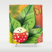 cartoon Shower Curtains featuring Cartoon ladybug by Cs025