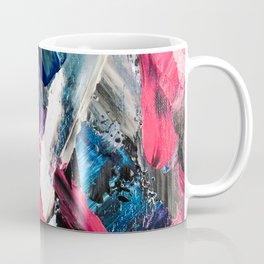 Modern navy blue pink black acrylic brushstrokes paint Coffee Mug