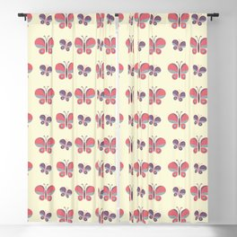 Geometric retro pink butterfly vector pattern design. Blackout Curtain